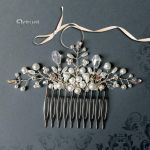 Bridal silver hair comb with pearls and crystals by artual