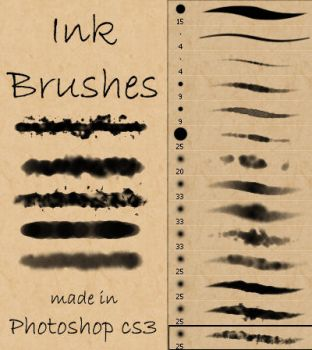 Ink and Watercolor Brushes by Stalcry