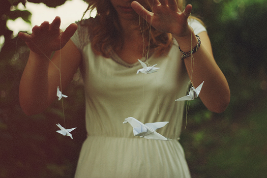 hummingbirds and paperplanes by violetkitty92