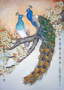 Peacocks on a yellow sakura branch by Musyupick