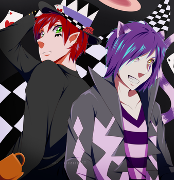The Mad Hatter and the Cheshire Cat by LizzieBCT