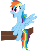 Stunned Dash sitting on branch by BaumkuchenPony