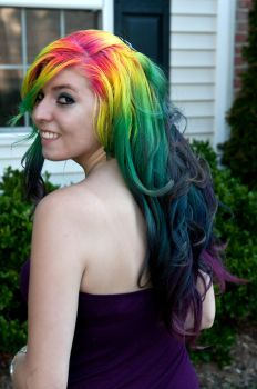Rainbow Hair in Curls by lizzys-photos