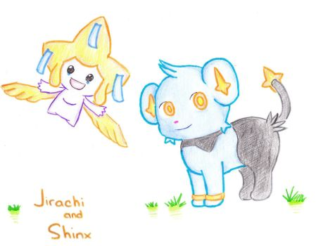 Jirachi and Shinx by Me11ochan