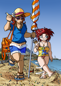 Giantesses On The Beach by labbaART