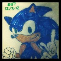 Napkin Art #97 - A Blue Blur - Sonic the Hedgehog by PeterParkerPA