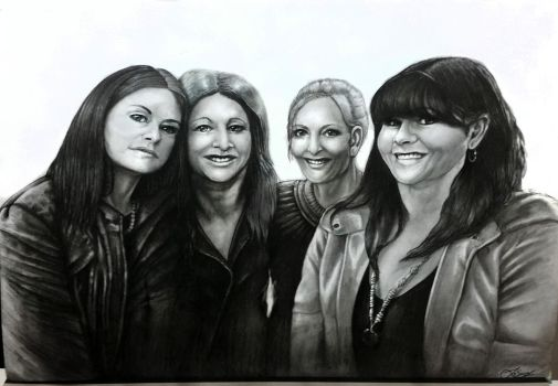 Portrait of Friends - Coal and Pencils by Jolene-eSousa