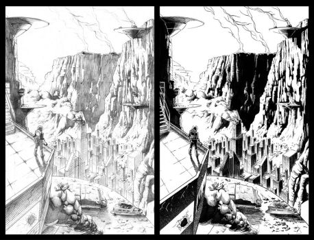 Soldier Vs. Alien pg 2 - Pencils and Inks by KristofferNS