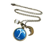 Aries Zodiac Sign Antique Bronze Necklace by crystaland