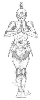 Cyber Knight 13 Pencils Small by mikewilsonart