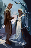 Cullen Rutherford and Moonkeep Lavellan by HeathWind