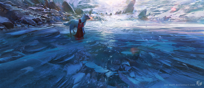 Frozen lakes and really big dogs by cat-meff