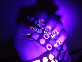 Neon light nails by MorticiaVamp