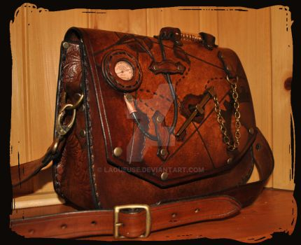 leather shoulder bag  pirate steampunk by Lagueuse