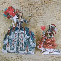 3D Greeting Card - Balloon Lady And Bird Queen by rhondasoriginals