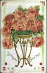Jardiniere -  Glass Beaded Floral Postcard by Yesterdays-Paper
