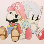 Classic Mario and Classic Sonic by Alantaris