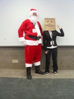 Angry Paper Bag Head and Santa Claus by ScubaNinja2021