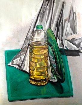 Still Life With Aluminum Foil, Cooking Oil and Gre by vijujako