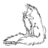 Couple Wolf Lineart by MischievousRaven