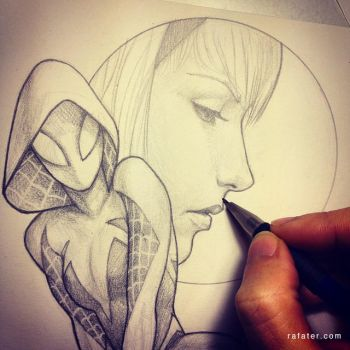 Spider-Gwen pencil drawing WIP by rafater