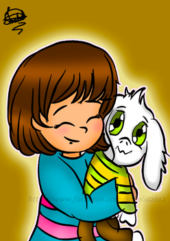 Frisk and Asriel  plush by Isabel2014