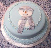 Flat Snowman Cake by ginas-cakes