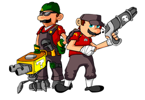 Scout Mario and Plumber Luigi by MushroomFortress