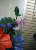 Origami hollyhocks with butterflies by Gryph-Draco