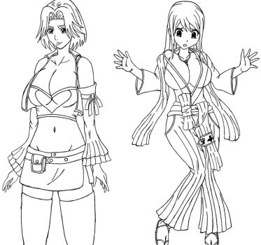 Rangiku and Lucy swapping clothes. by desmondlogan