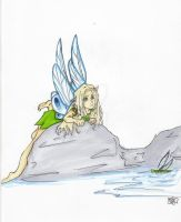Fairie busy watching dragonfly by Loia