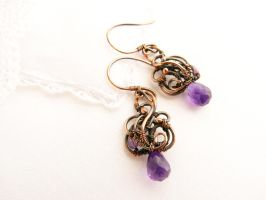 Wire earrings Grapes by UrsulaJewelry
