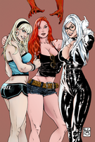 3 girls from Marvel new one- colour by Heksagon