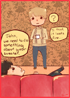 Sherlock Does Not Approve Of John's Sweater by CafeArtist101