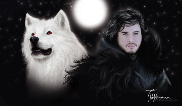 Game of Thrones: Jon and Ghost by TabiiToast