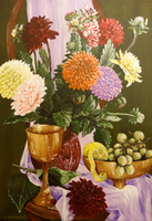 Dahlias with Golden bowls by AnnaZLove
