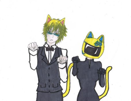 Shizuo AND Celty Nekos~! by ShizuCelty-Heiwason