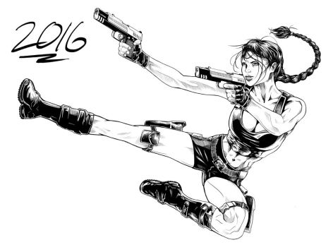 Inking Practice - Lara Croft | Tomb Raider by RyanBrent