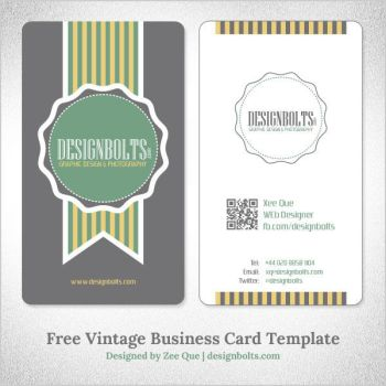 Free Vector Vintage Business Card Template by Designbolts