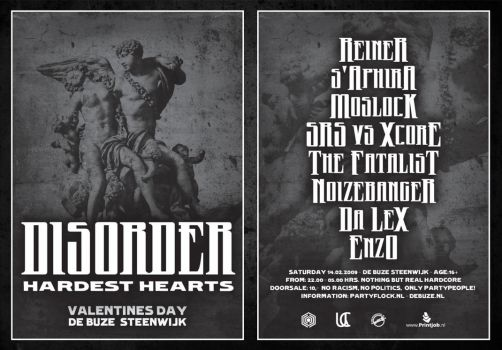 Disorder Hardest Hearts Flyer by Paradyne