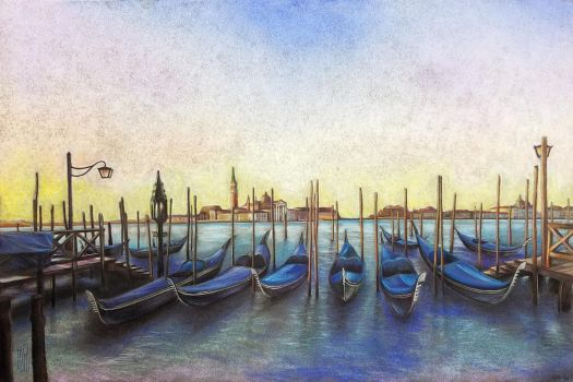 Sunset in Venice (colored pencil, chalk) by Klaberator