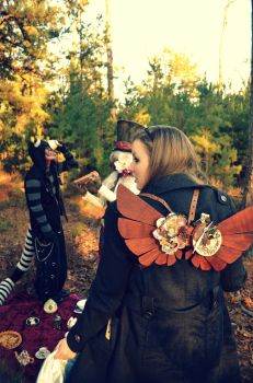 Wooden Steampunk Wings- Wonderland by livetoletlive