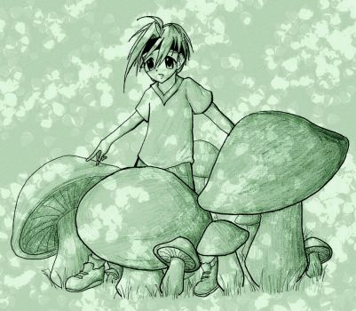 Joe in a patch of mushrooms by Pompi