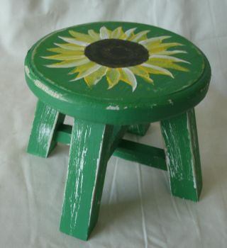 Green Sunflower Painted Wood Plant Stool by sweetpie2