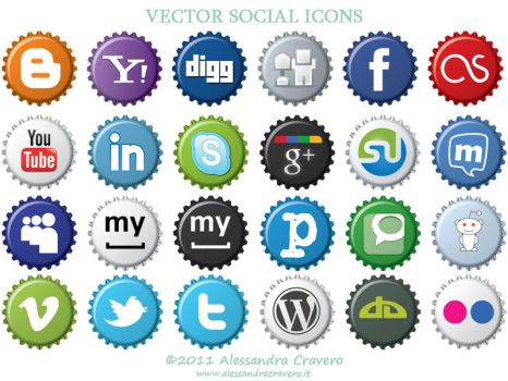 Vector Social Icons on Caps by LaAlex