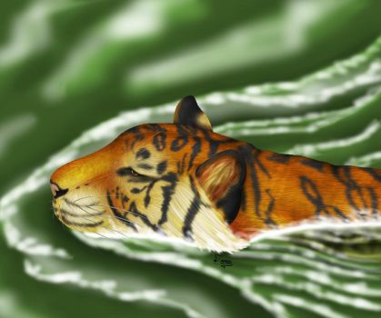 Tiger Swimming by Nuswodahs