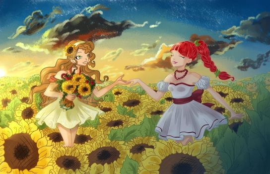 Between of the sunflowers by Animagfia