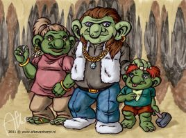 Dronk and his kids by afke11