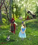 Red Riding Hood meets Alice in wonderland by IgnisFatuusII