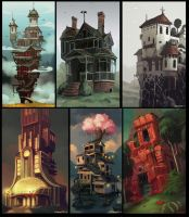houses sketches by Larbesta